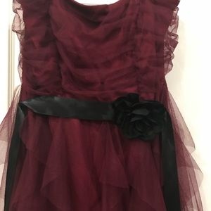 Prom Dress Marroon and Black High Low